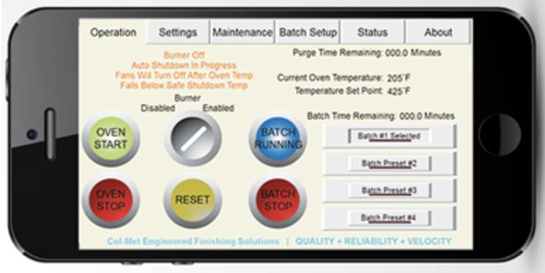 RTT Smart Connect Batch Oven App